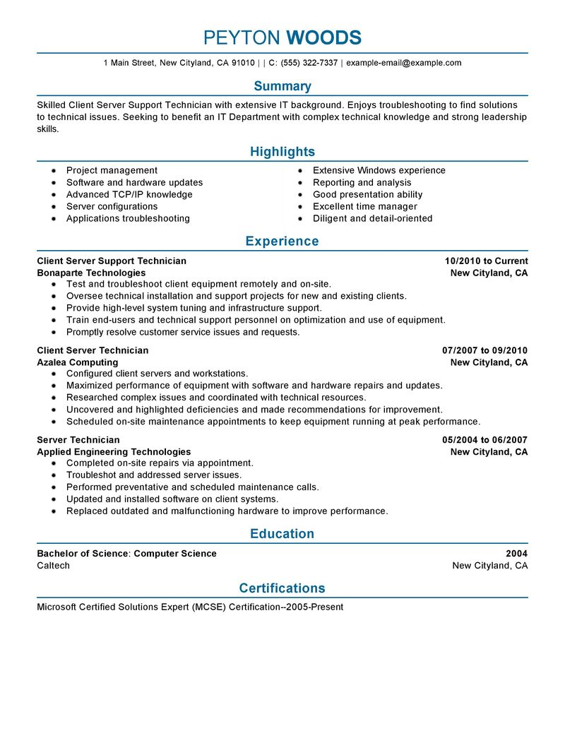 Examples Of It Resumes - Examples of Resumes