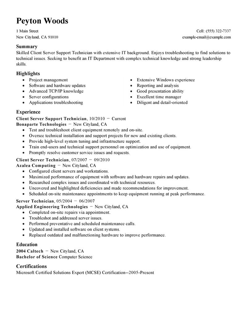 Server Job Description Resume Example - Examples of Resumes
