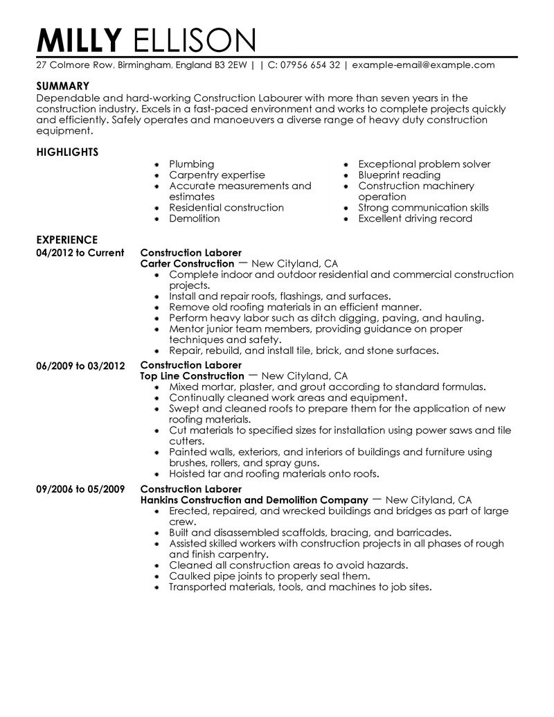 Best Construction Labor Resume Example LiveCareer