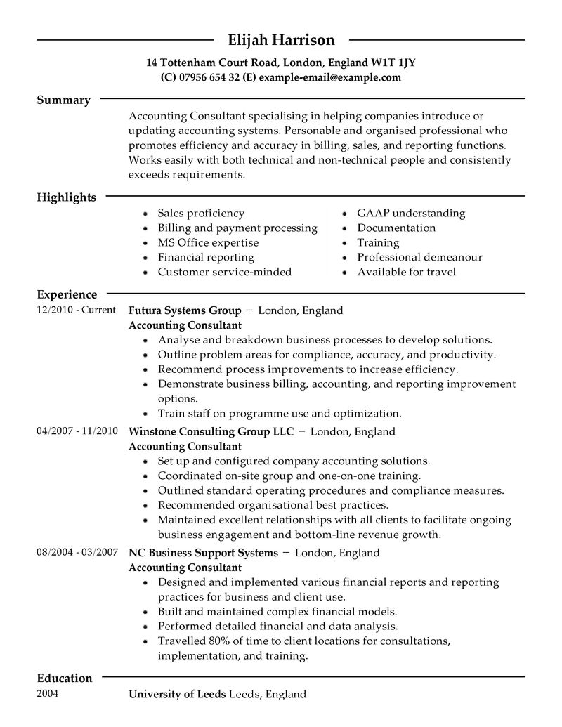 Marvelous Best Consultant Resume Example LiveCareer