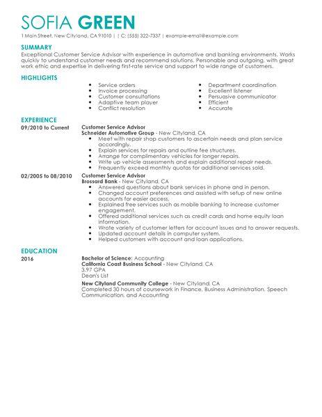 Customer Service Advisor Resume Examples  Customer Service Resume Examples  LiveCareer