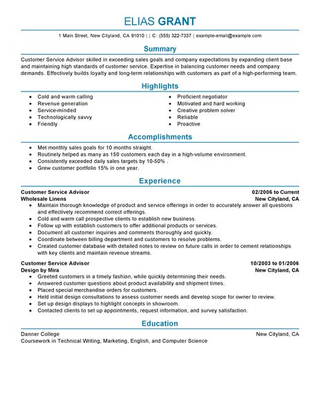 Best Sales Customer Service Advisor Resume Example LiveCareer  Best Sales Resume Examples