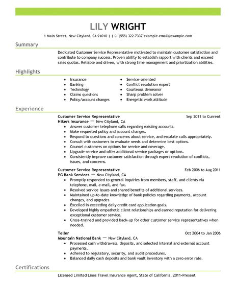 Customer Service Representative Resume Examples Unforgettable