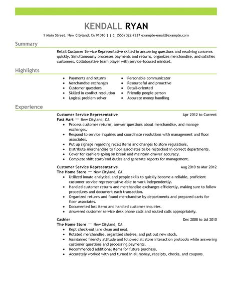 Best Retail Customer Service Representative Resume Example