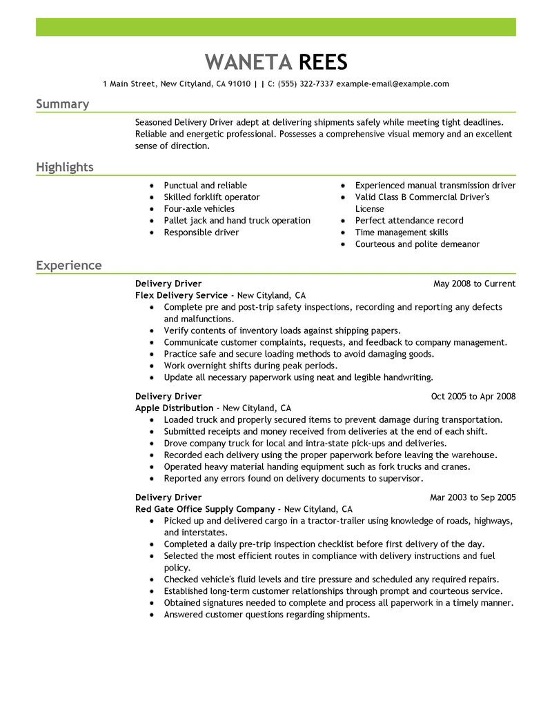 best delivery driver resume example livecareer - Truck Driver Resume Objective