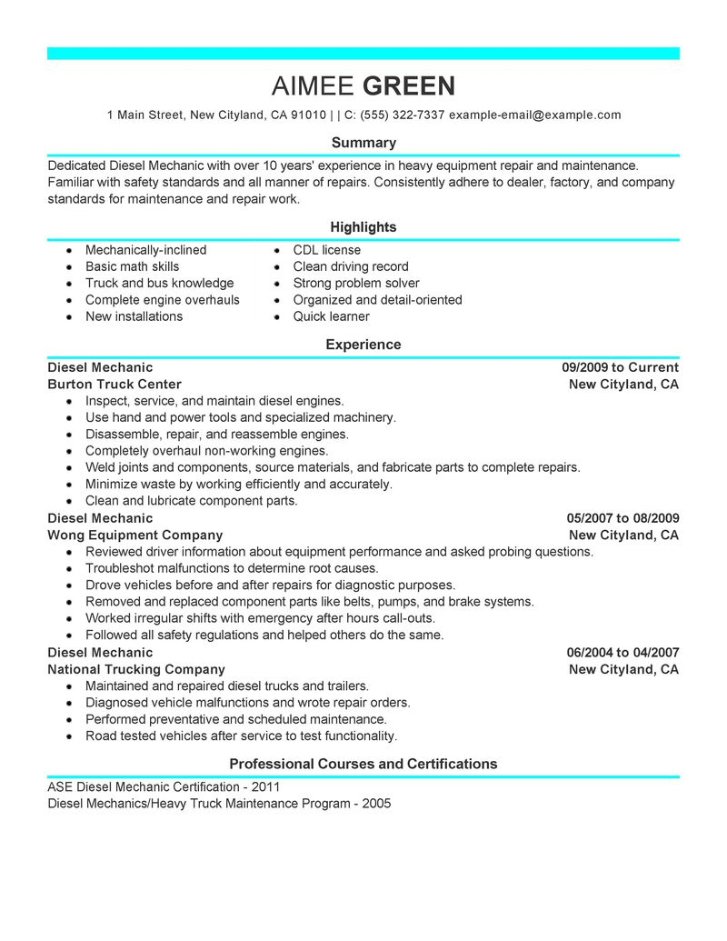 resume objective examples for diesel mechanic