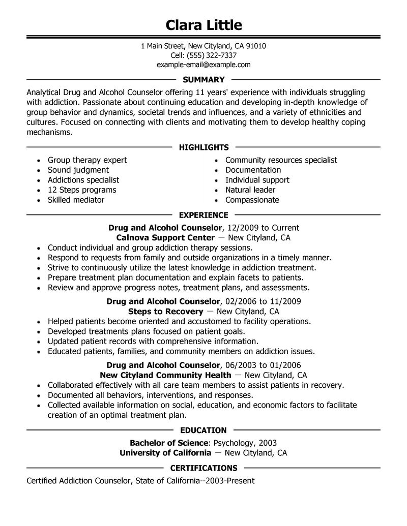 Nice Best Drug And Alcohol Counselor Resume Example LiveCareer And Counseling Resume