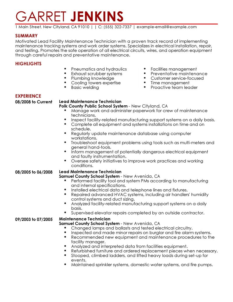 Best Facility Lead Maintenance Resume Example LiveCareer