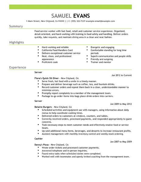 food handler resume examples
