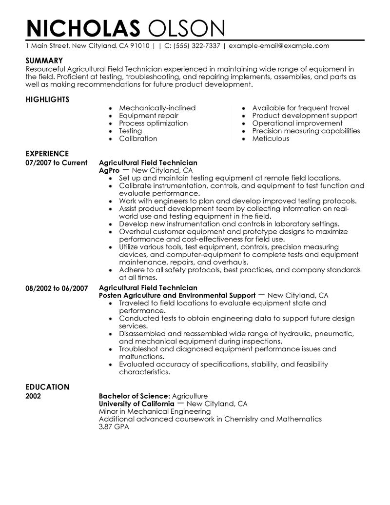Field Service Technician Resume Examples - Examples of Resumes