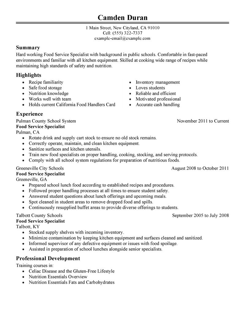 Food Specialist Resume Examples  Education Resume Samples  LiveCareer
