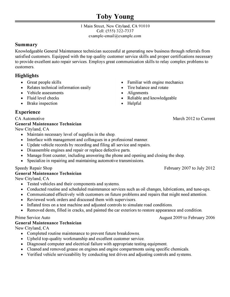 Best General Maintenance Technician Resume Example LiveCareer  Auto Mechanic Resume