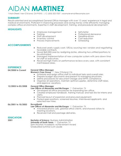 Best Administrative General Manager Resume Example