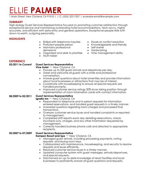 guest service representative resume samples