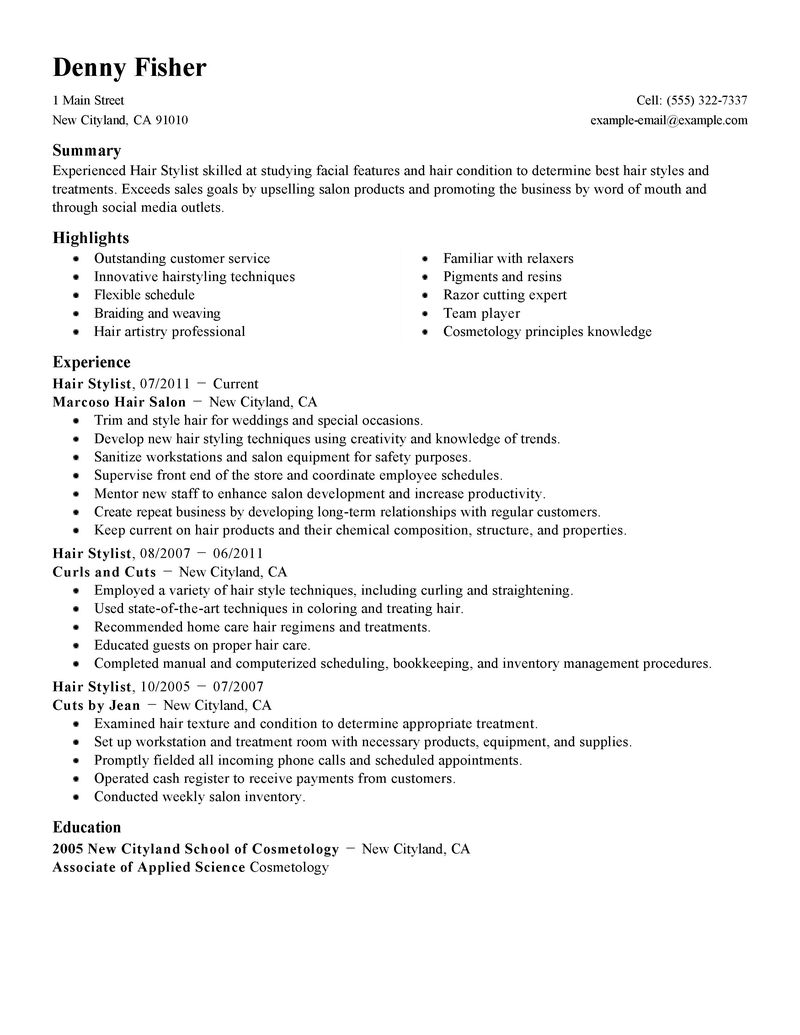 Best Personal Services Hair Stylist Resume Example LiveCareer