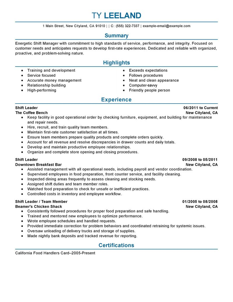 Leader Resume Examples - Examples of Resumes