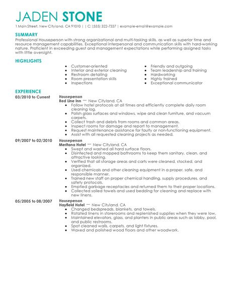Best Houseperson Resume Example LiveCareer