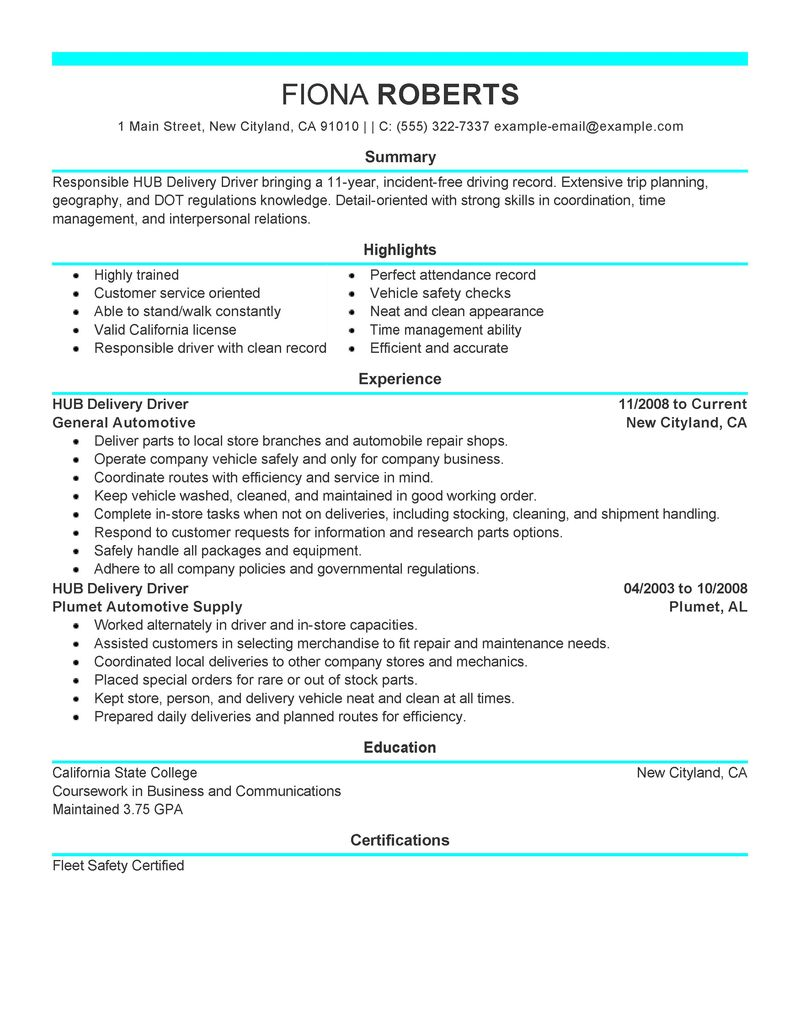 Best Hub Delivery Driver Resume Example LiveCareer