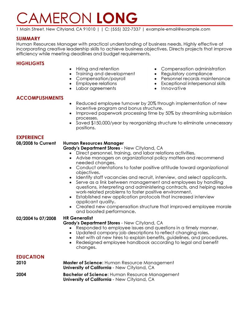 Human Resources Manager Resume Examples - Examples of Resumes