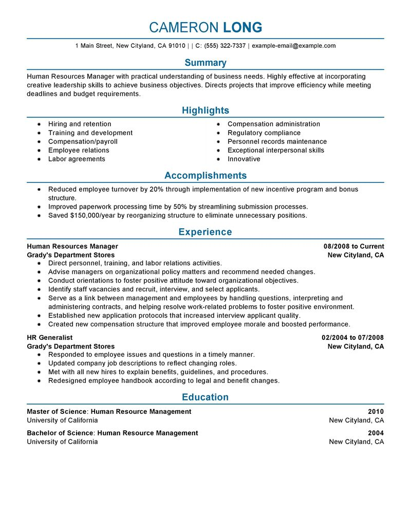example of resume for human resource position examples of resumes