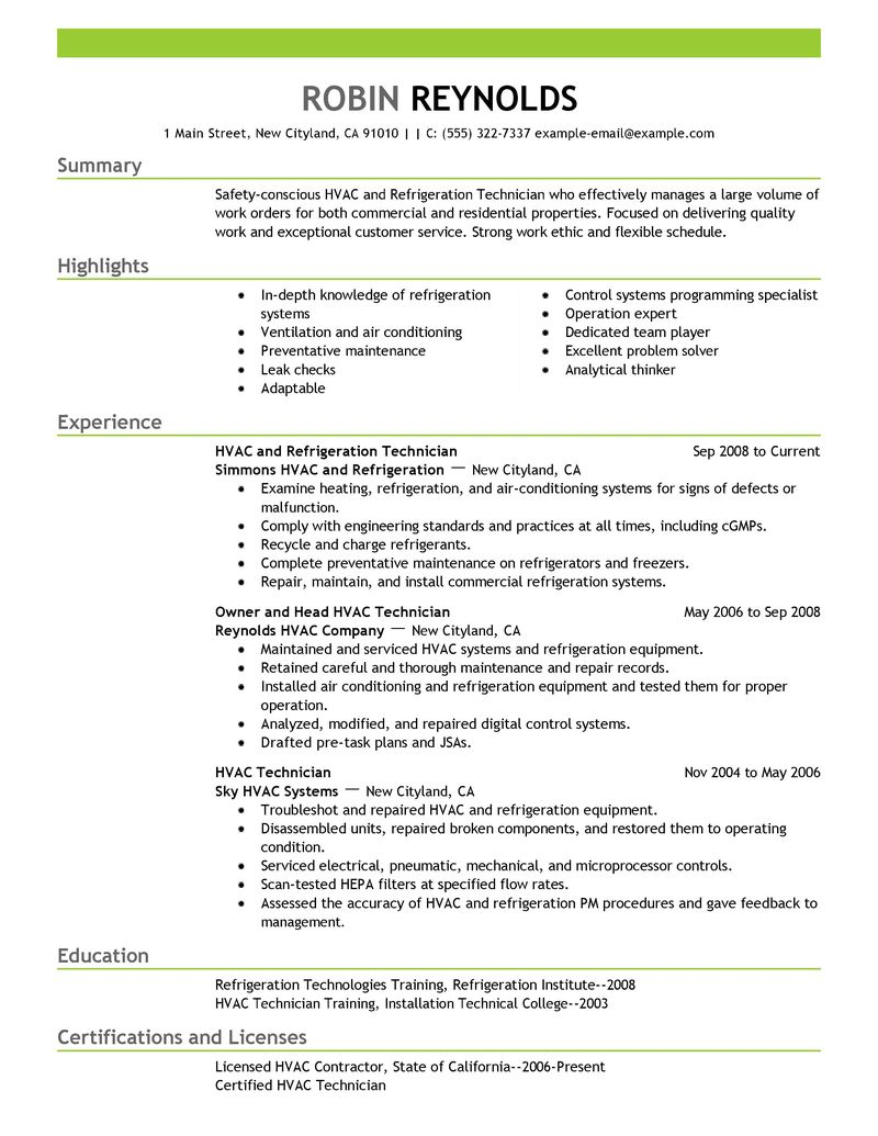 Best Hvac And Refrigeration Resume Example LiveCareer  Maintenance Technician Resume Sample