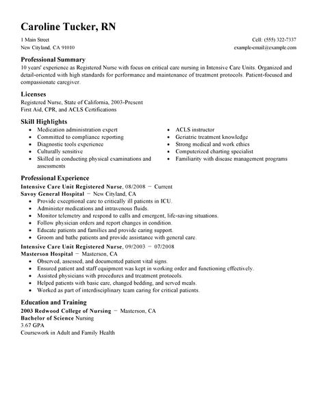 Intensive Care Unit Registered Nurse Resume Example