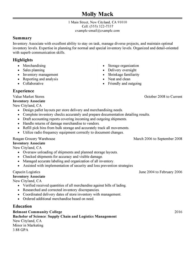 Best Inventory Associate Resume Example LiveCareer