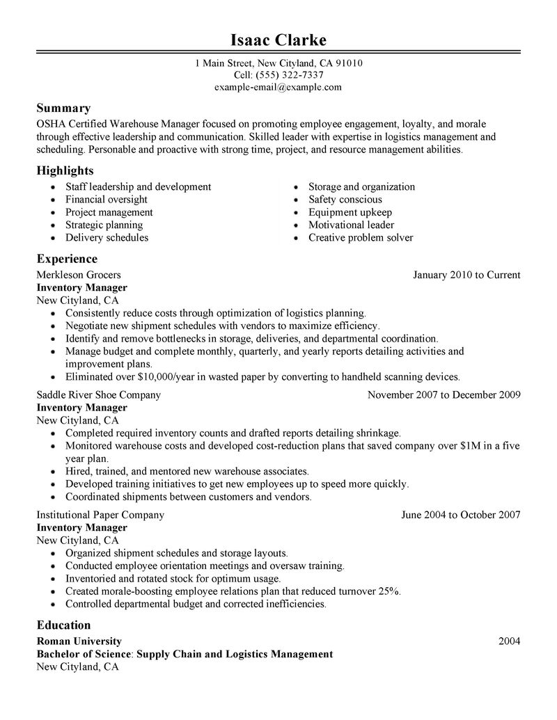 Best Inventory Manager Resume Example LiveCareer