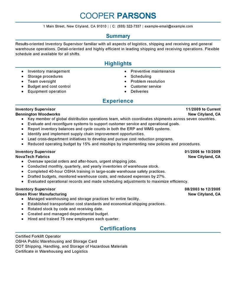 Supervisor Resume Example