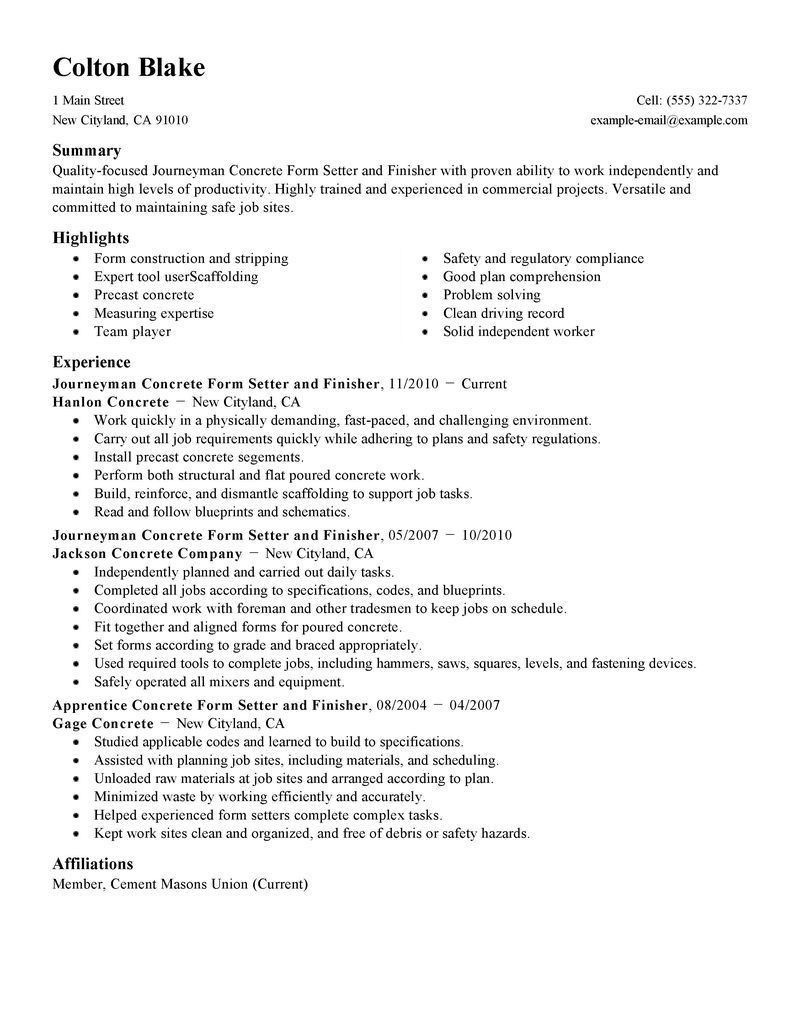 concrete construction resume examples