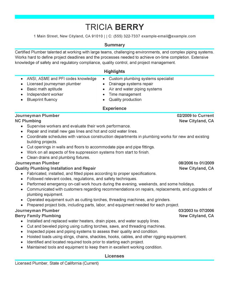Best Journeymen Plumbers Resume Example LiveCareer