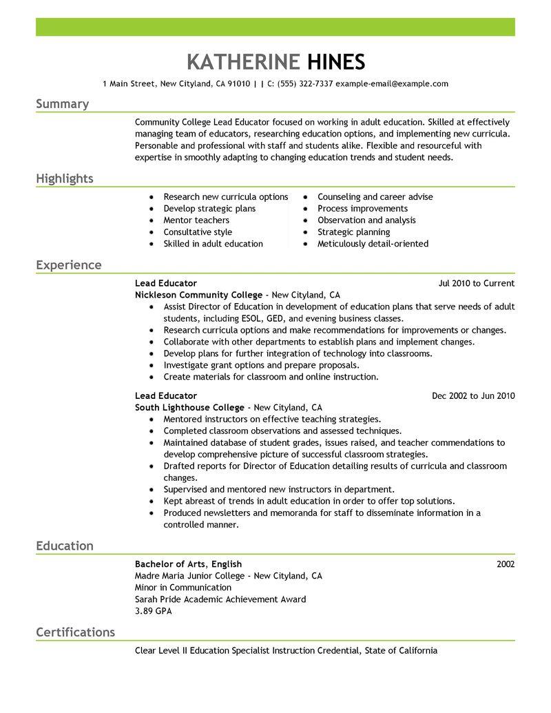 Best Lead Educator Resume Example LiveCareer