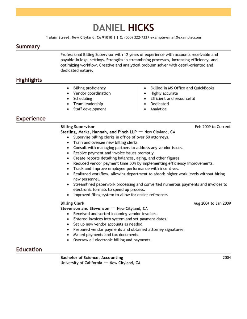 Sle Resume For Billing Specialist Computer Support Specialists