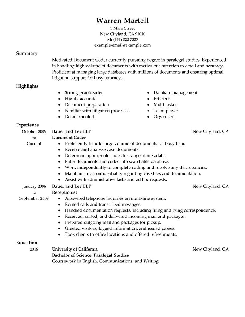 Best Legal Coding Specialist Resume Example LiveCareer