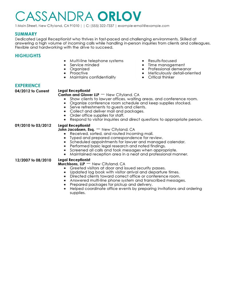 legal receptionist resume sample