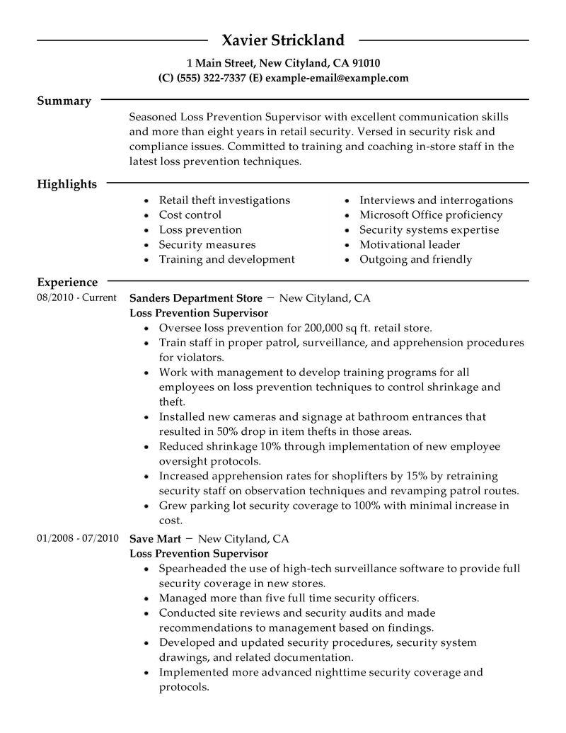 retail loss prevention resume sample