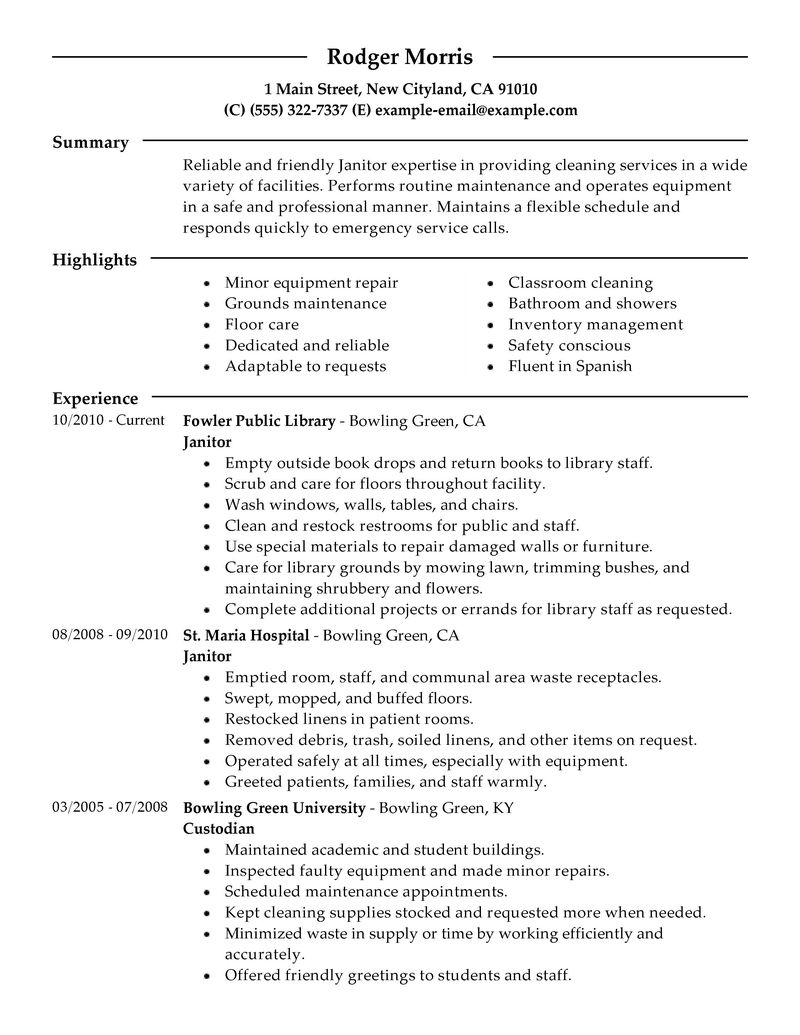 Maintenance & Janitorial Resume Examples Maintenance