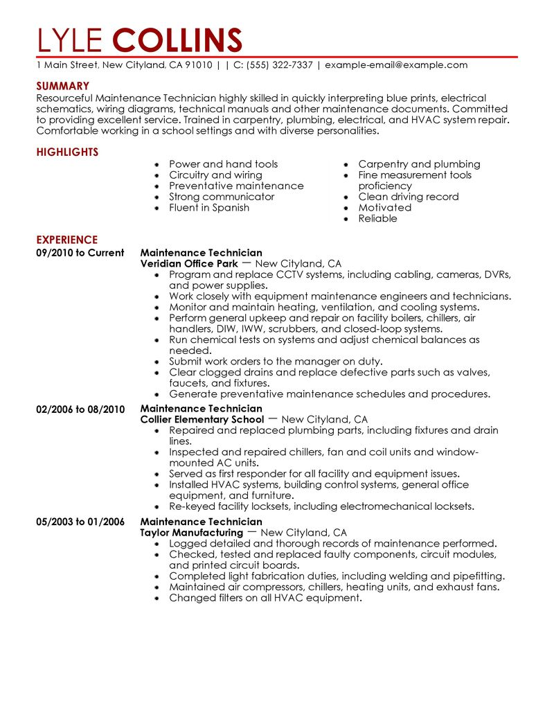 Maintenance Technician Resume Sample  Technician Resumes  LiveCareer