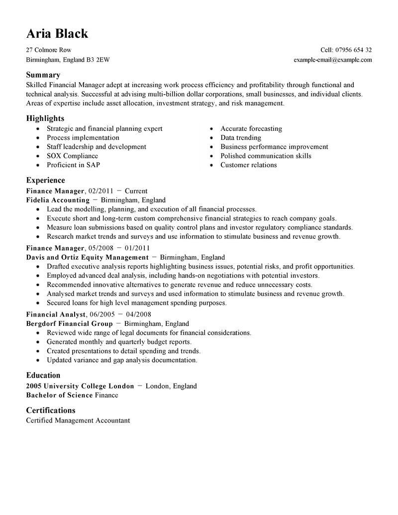 Sample Resume For Finance Manager ] - resume objective for ...