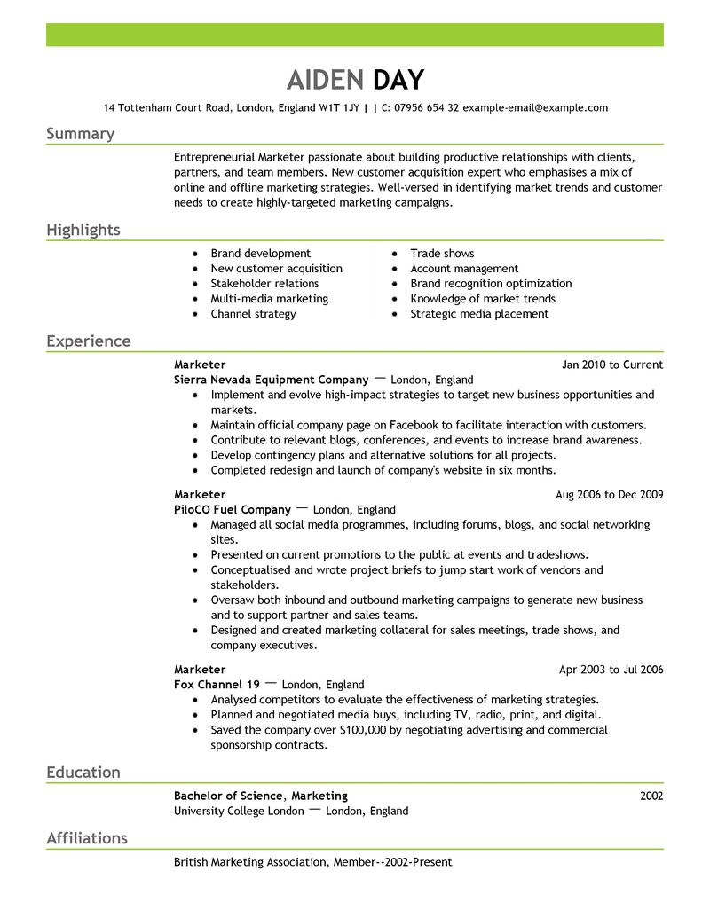 Marketing and pr resume
