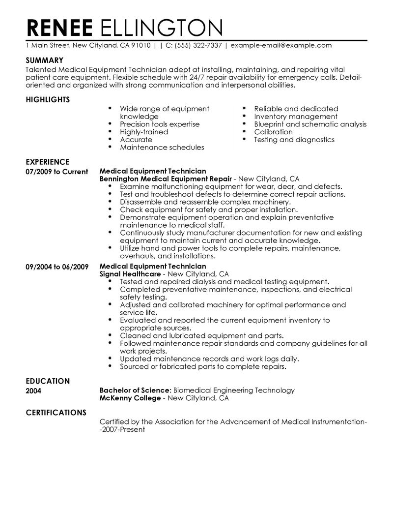 Best Medical Equipment Technician Resume Example LiveCareer