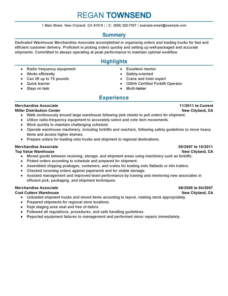 Merchandise Associate Cover Letter - Cover Letter Resume Ideas ...