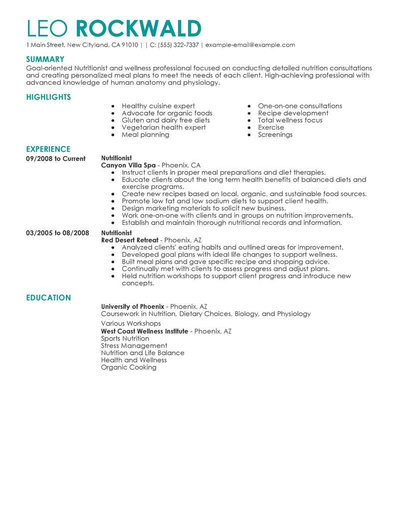 consultant dietitian resume