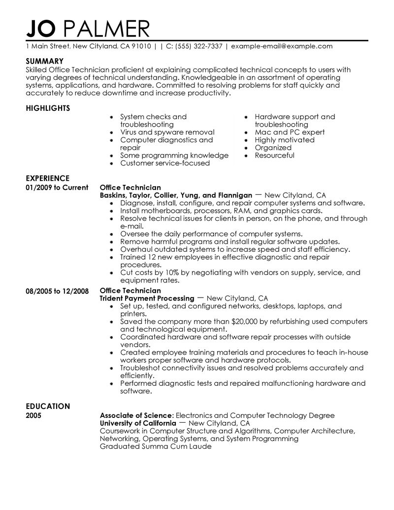 Best Office Technician Resume Example LiveCareer