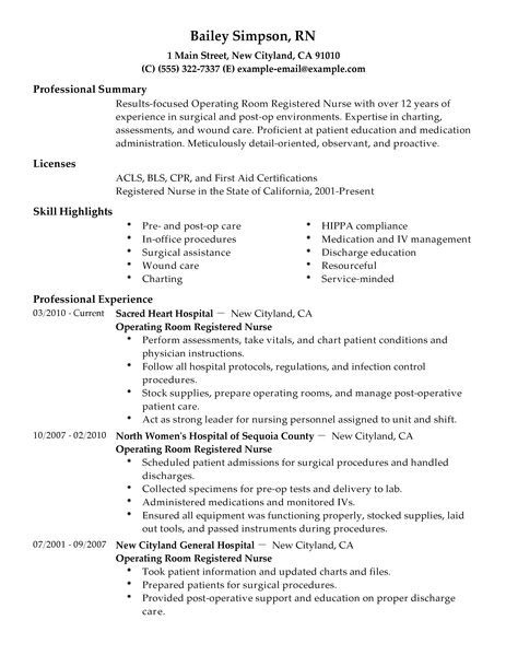 Sample Nursing Resume New Grad. Unforgettable Operating Room