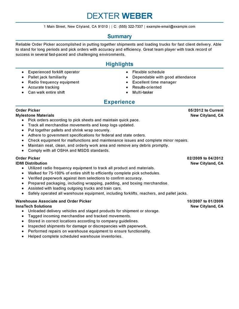 Order Picker Resume Examples Government & Military