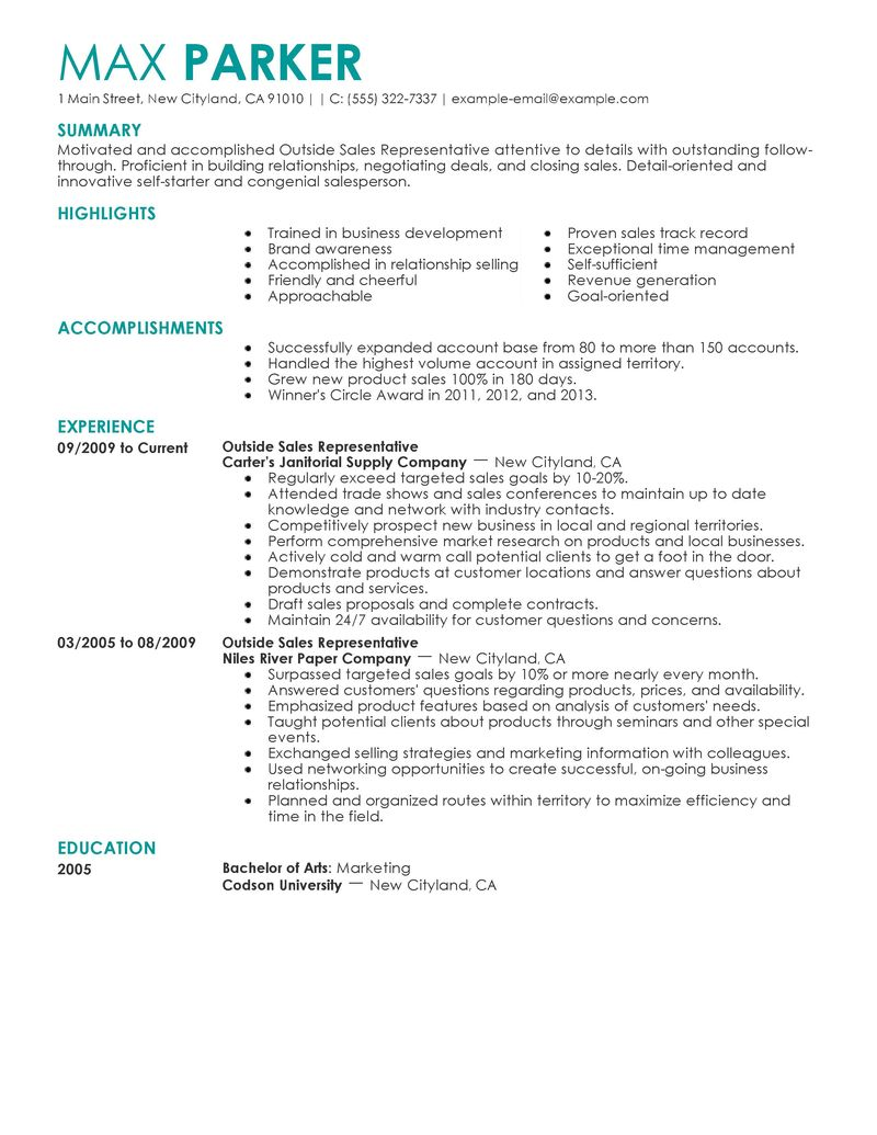 outside sales rep resume example