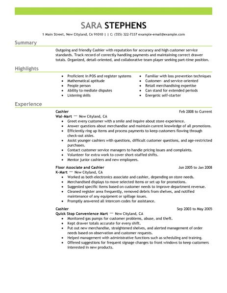 Resume For A Cashier Example - Examples of Resumes