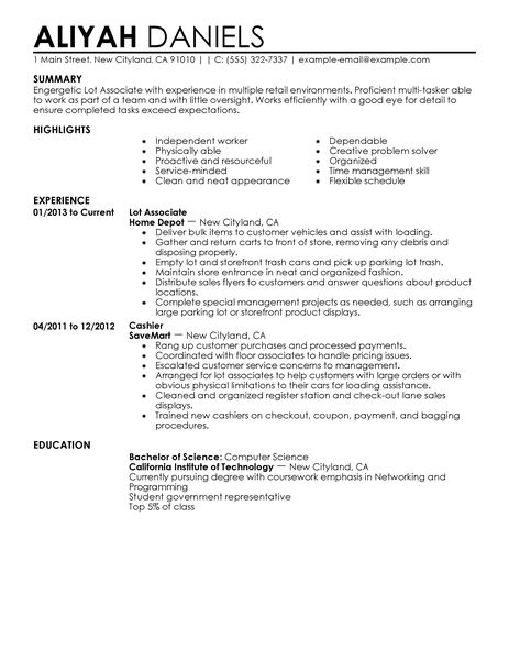 Best Part Time Lot Associates Resume Example LiveCareer