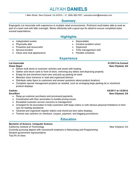 Part Time Lot Associates Resume Example  Retail Sample